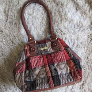 Vera Bradley wool plaid leather purse red black